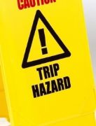 'Caution Trip Hazard' warning A-frame sign